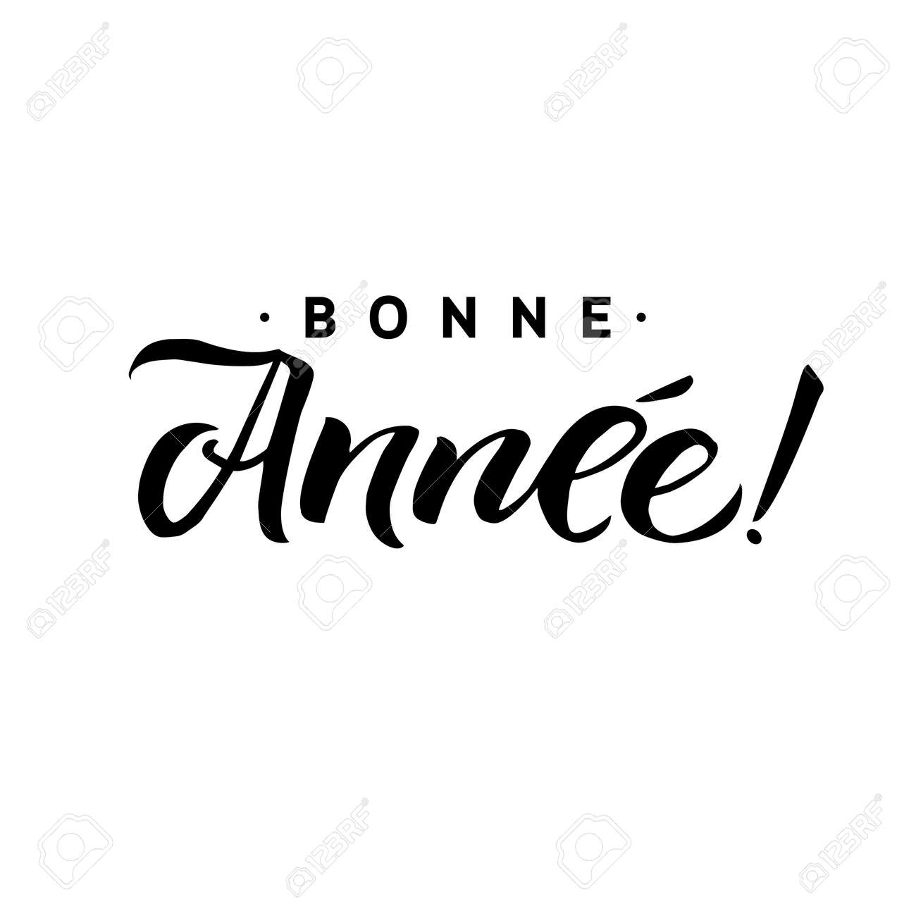 Bonne annee happy new year calligraphy in french greeting card happy new year calligraphy in french greeting card black typography on white m4hsunfo