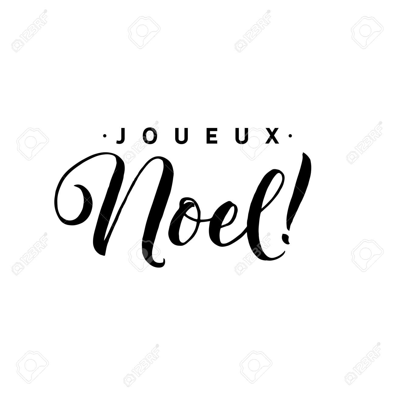 merry christmas calligraphy template in french greeting card