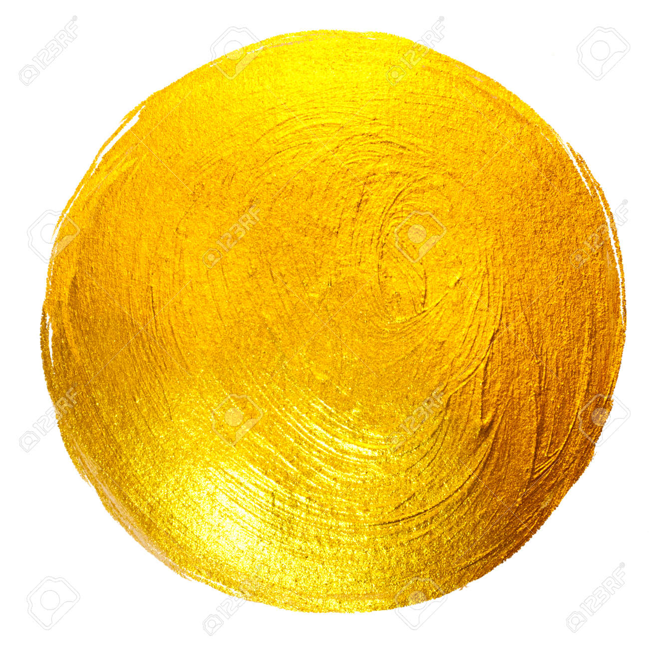 Gold Foil Round Shining Paint Stain Hand Drawn Raster Illustration. - 70969198