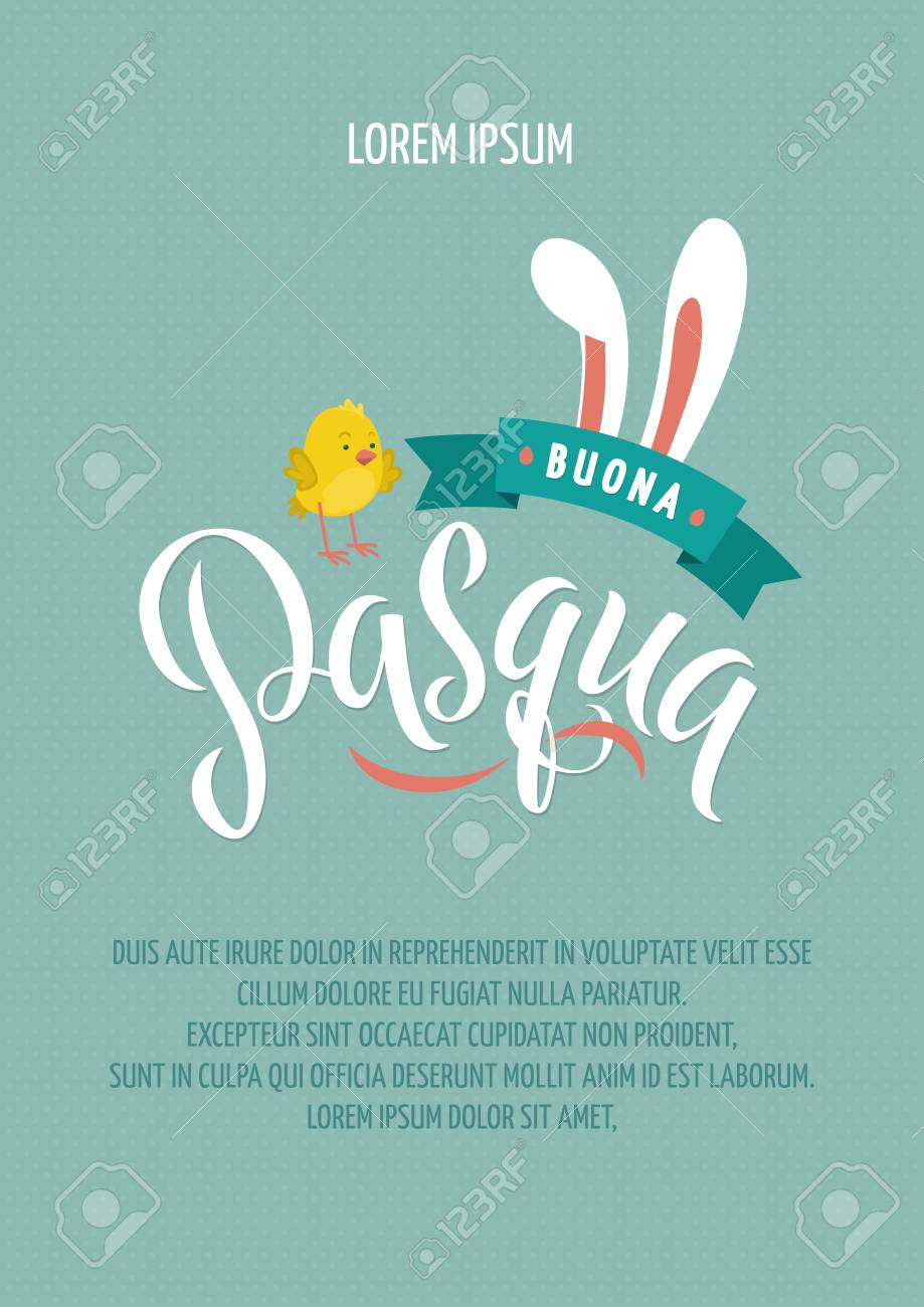 Happy Easter Italian Calligraphy Greeting Card Modern Brush