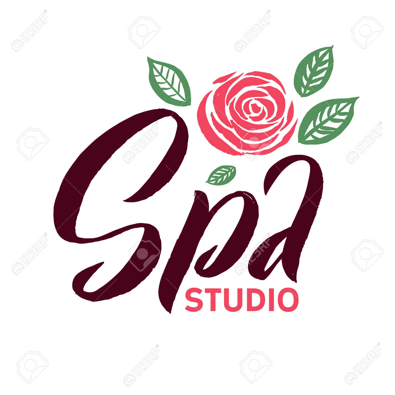 Spa Studio Vector Logo Stroke Pink Rose Flower Illustration