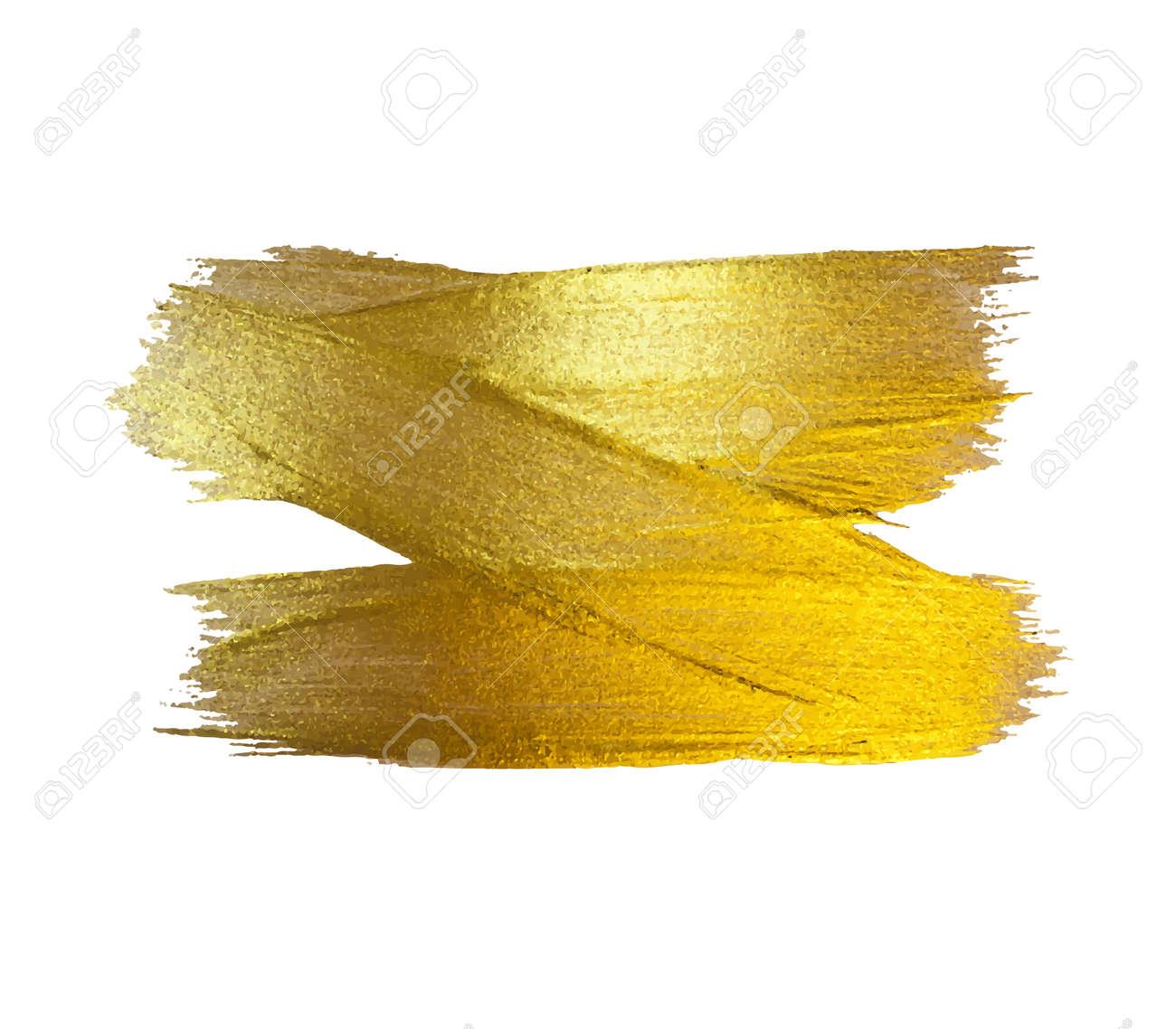 Gold Aquarell Textur Paint Fleck Abstrakte Abbildung. Shining Brush ...