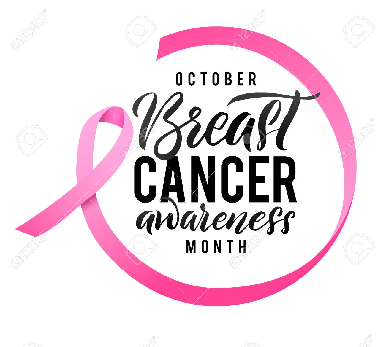 Breast Cancer Awareness Calligraphy Poster Design. Ribbon around letters. Vector Stroke Pink Ribbon. October is Cancer Awareness Month. - 86057150