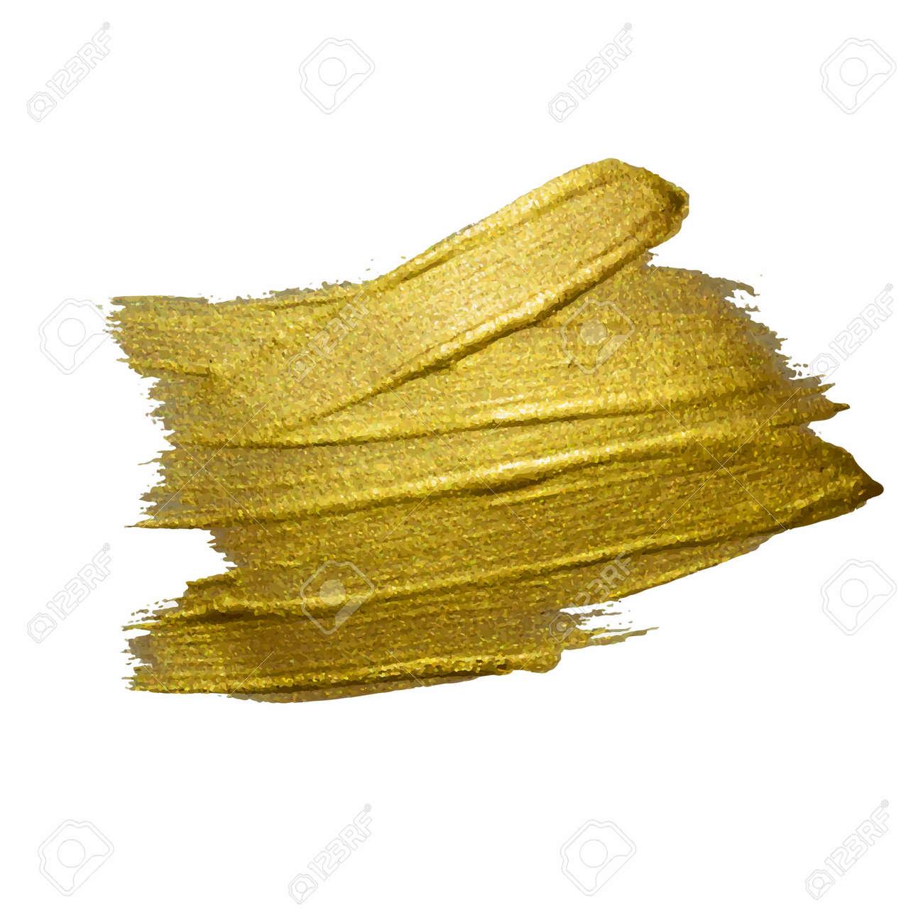 Gold Texture Paint Stain Illustration. Hand drawn brush stroke design elements. Abstract gold glittering textured art illustration. - 128111973