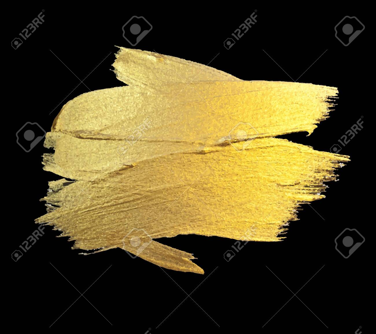 Gold Watercolor Texture Paint Stain Abstract Illustration. Shining Brush Stroke for you Amazing Design Project. Black Background. - 149301135