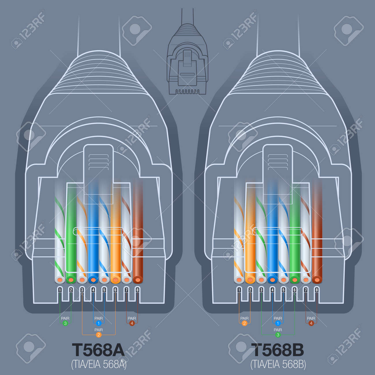 rj45 network cable connector t568a, t568b wiring diagram stock vector -  45694360