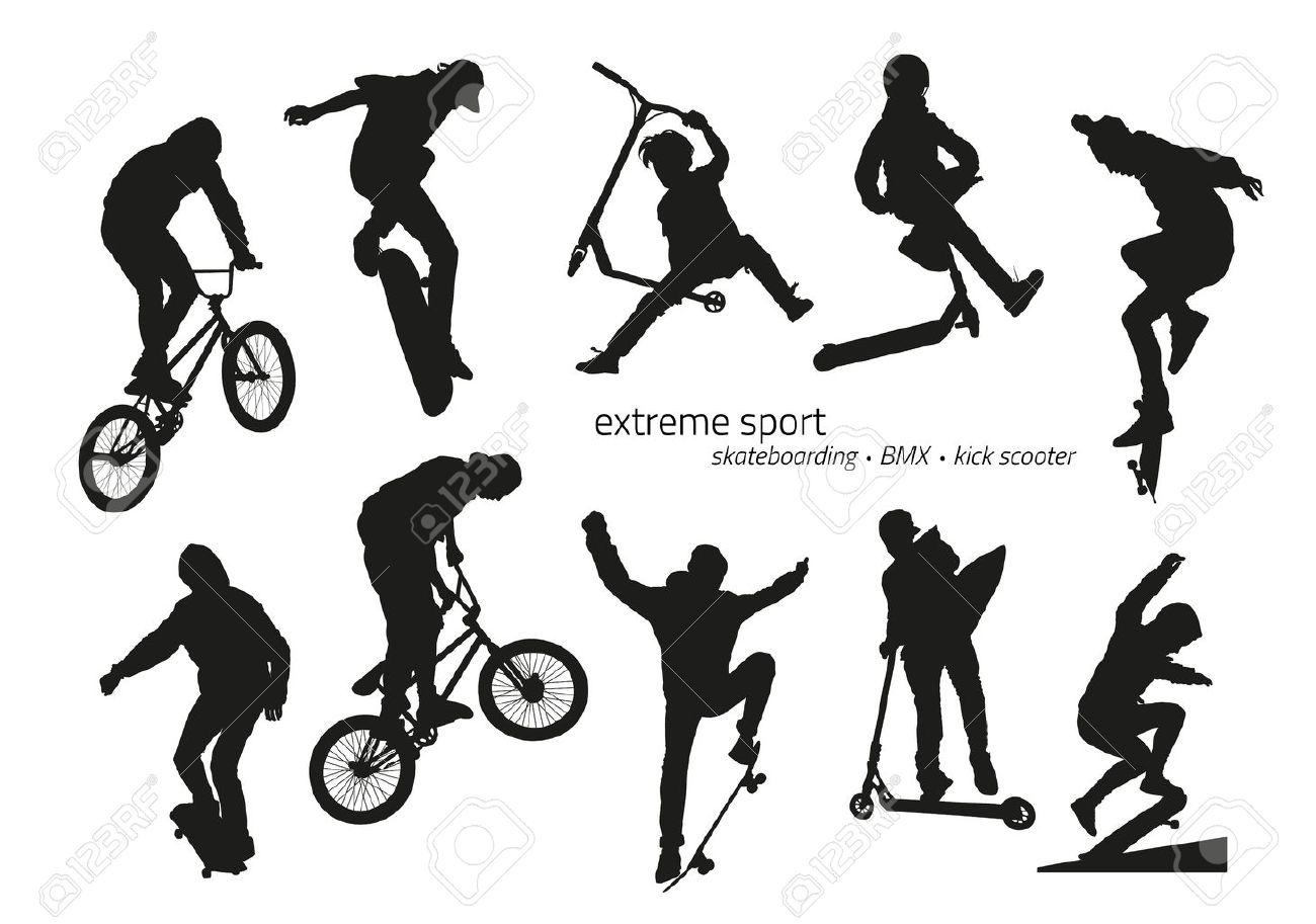 Extreme sport silhouette - skateboarding, kick scooter, BMX. Vector illustration - 64668215
