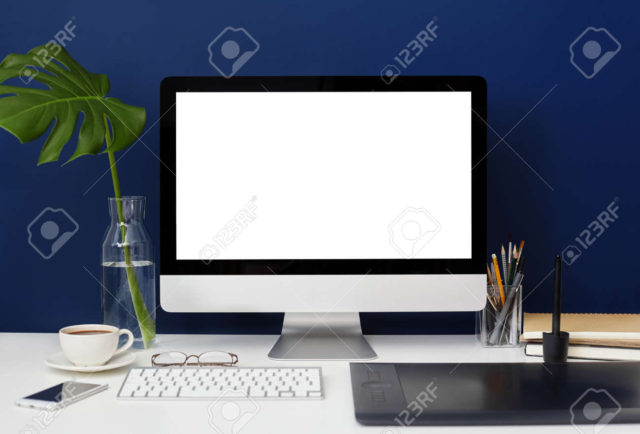 Front View Of Home Office Graphic Designer Desktop With Blank ...