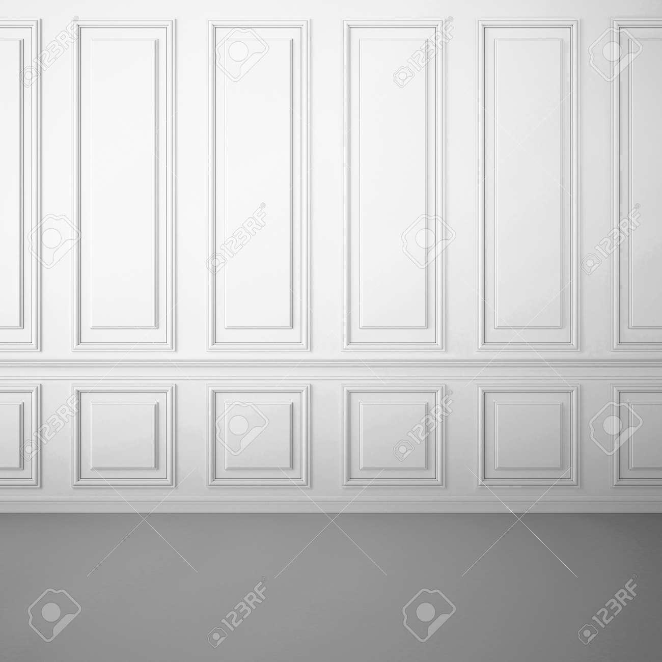 Int Rieur Blanc Classique Avec Moulures D Coratives Sur Le Mur