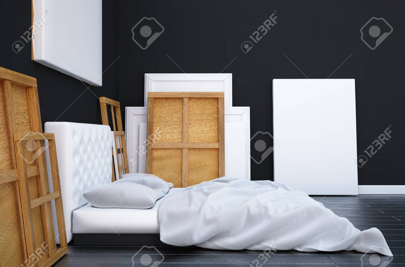 3d Render Bedroom With A Bed And The Pictures On The Floor And