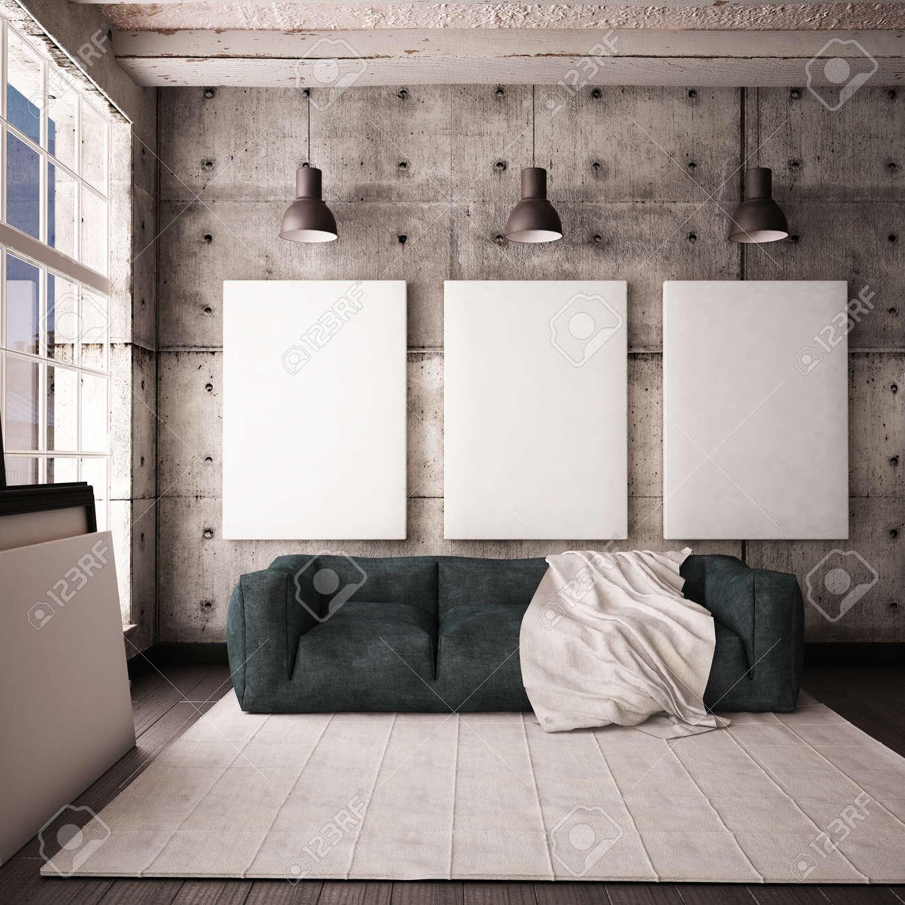 Fenster Loft mit einem fenster unter im loft stil mit plakaten und gemälden 3d