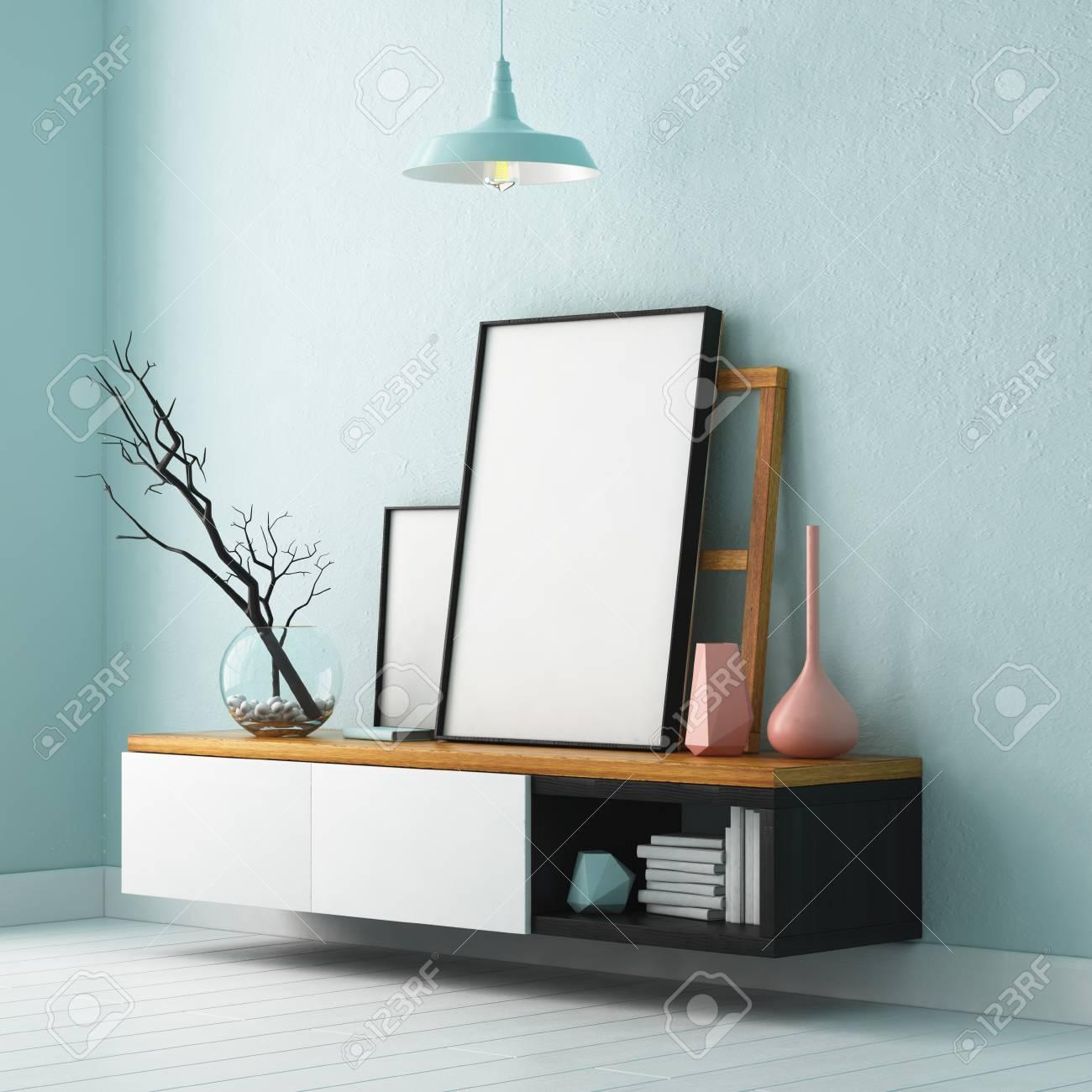 Vivre Dans Un Loft maquette affiche à l'intérieur. vivre dans un loft banque d'images
