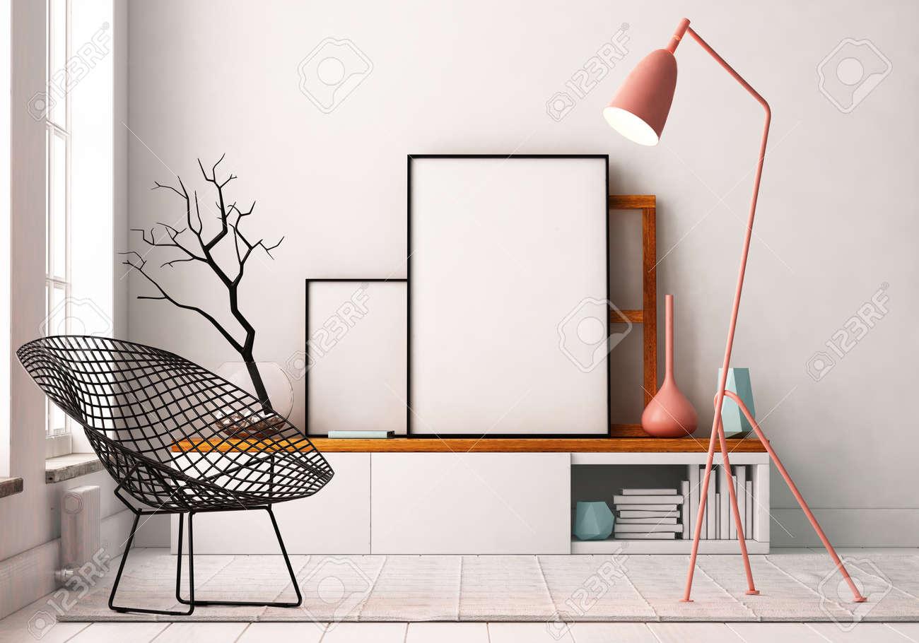 Vivre Dans Un Loft affiche mockup à l'intérieur. vivre dans un loft banque d'images et