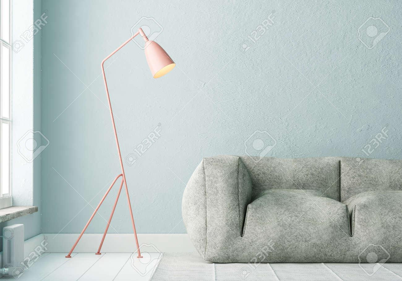 Schon Modell Innenraum Mit Einem Poster Und Einer Stehlampe. Trendfarbe. 3d  Standard Bild