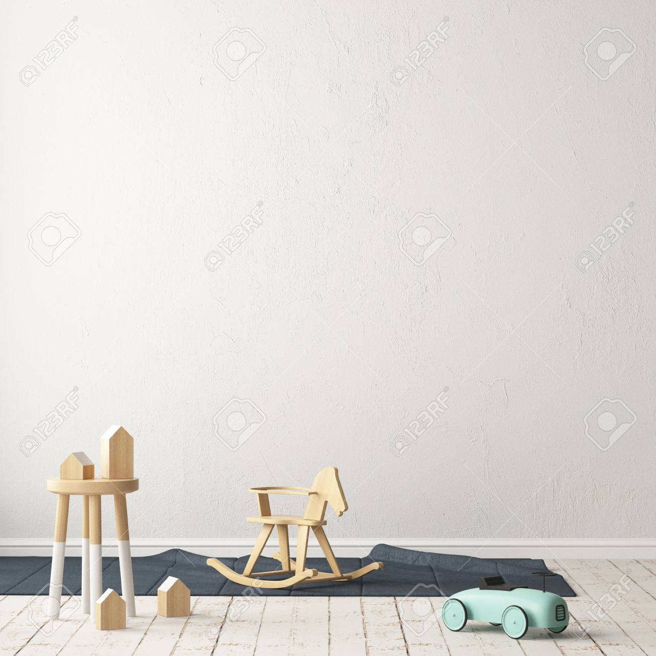 Children's room in Scandinavian style. 3d illustration. - 87129230