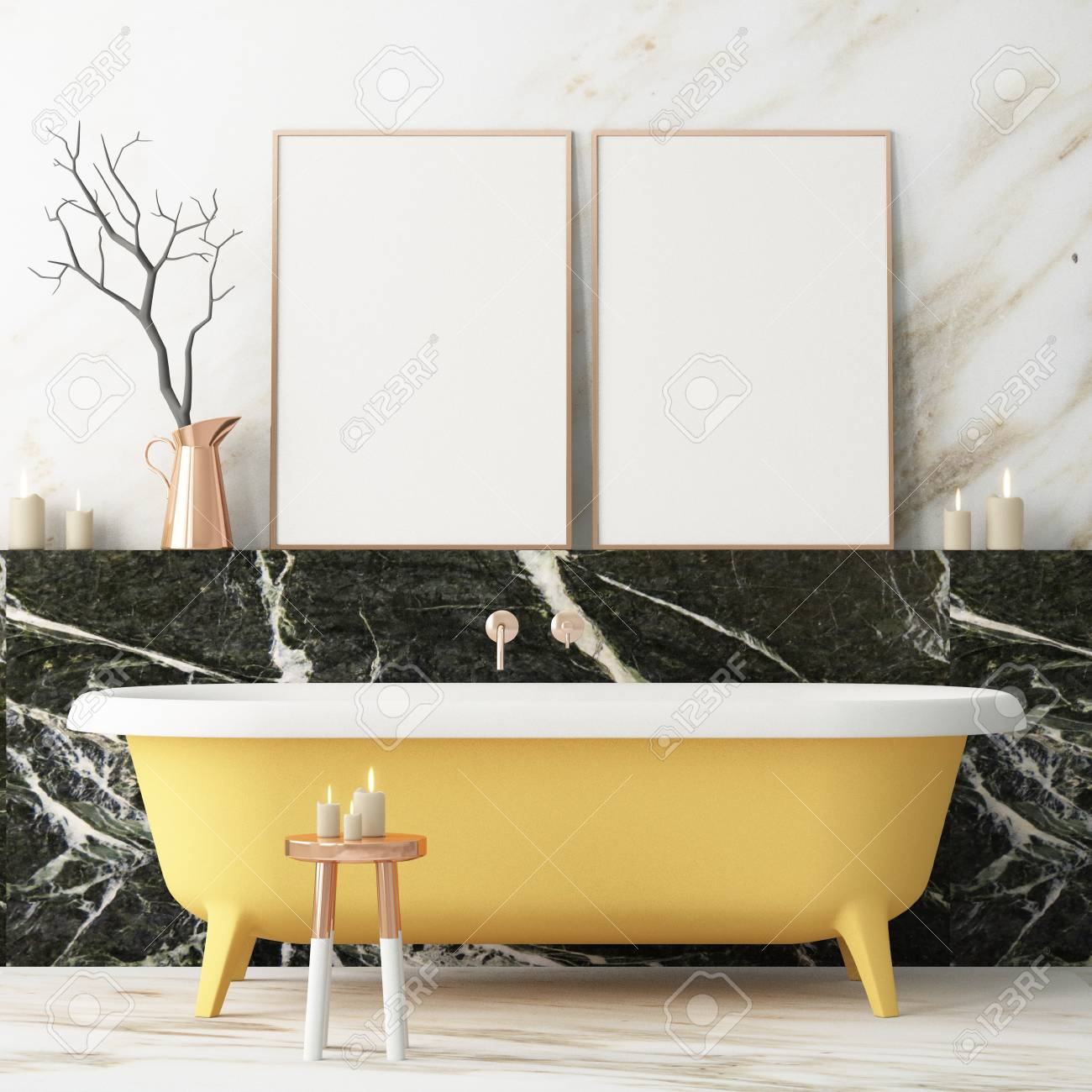 The Interior Of The Bathroom Is In Art Deco Style 3d Illustration Stock Photo Picture And Royalty Free Image Image 103324290