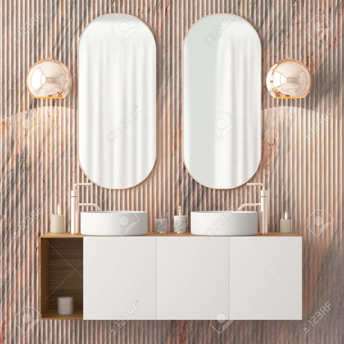 The Interior Of The Bathroom Is In Art Deco Style 3d Illustration Stock Photo Picture And Royalty Free Image Image 103324015