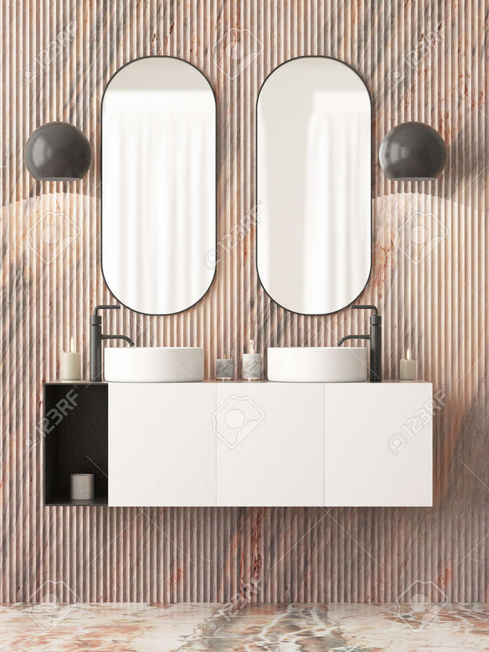 The Interior Of The Bathroom Is In Art Deco Style 3d Illustration Stock Photo Picture And Royalty Free Image Image 103324021