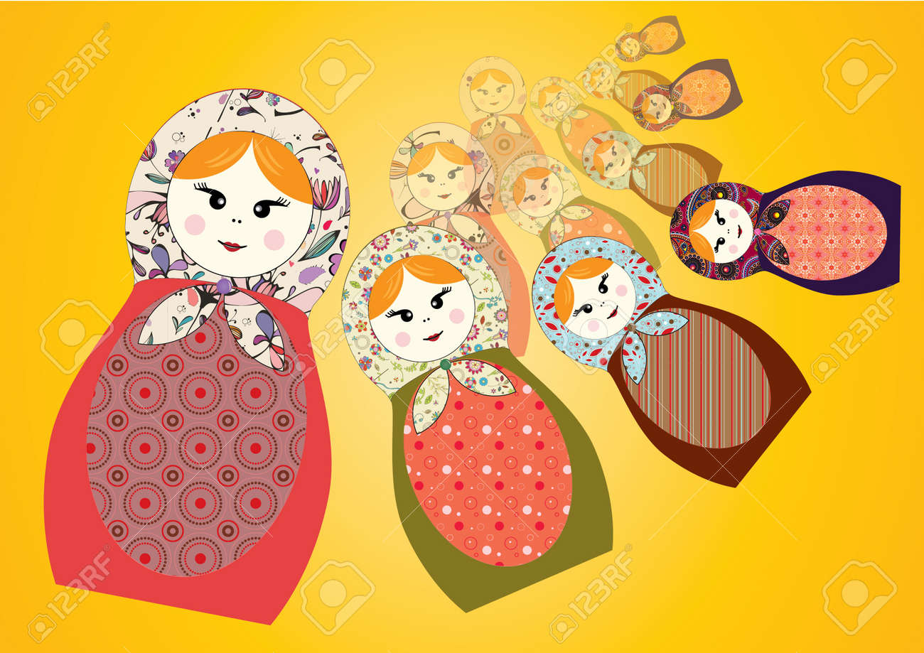 4 different russian nesting dolls Stock Vector - 10561631