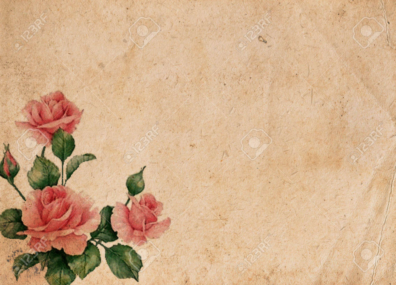 Beautiful Vintage Retro Background With Roses Stock Photo Picture