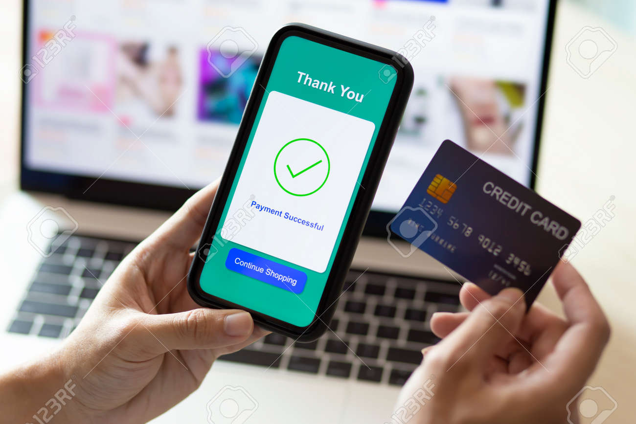 using smartphone and credit card online shopping - 141661849