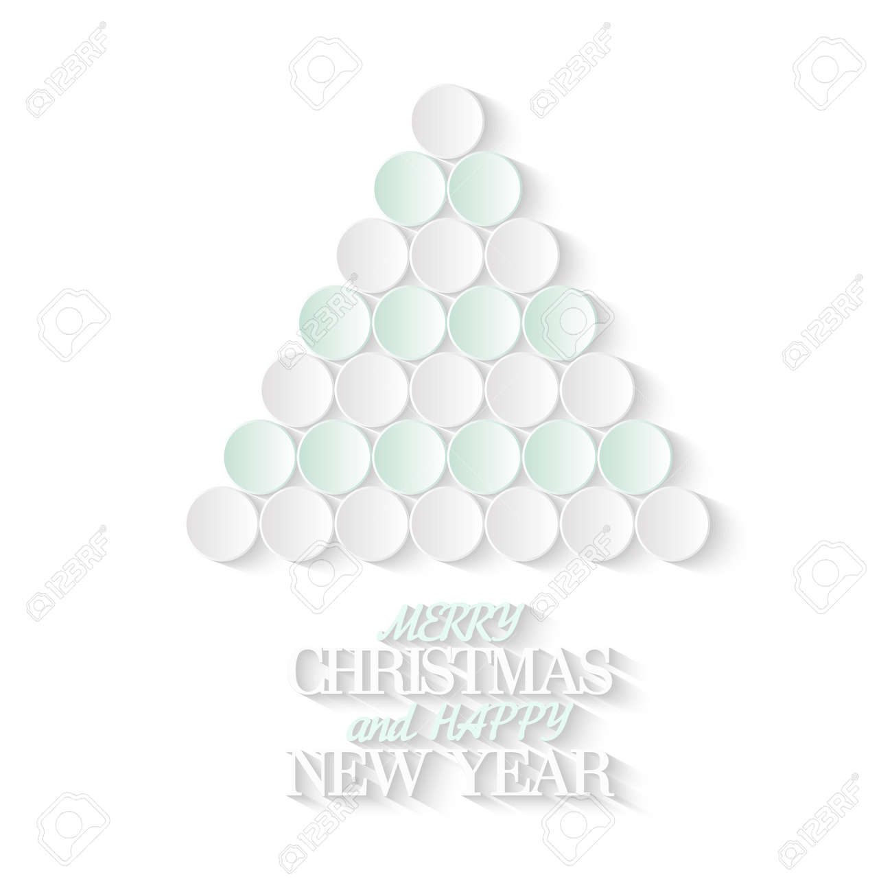 3d Paper Christmas Tree Template.Creative Christmas Tree Consists From 3d Paper Circles Merry