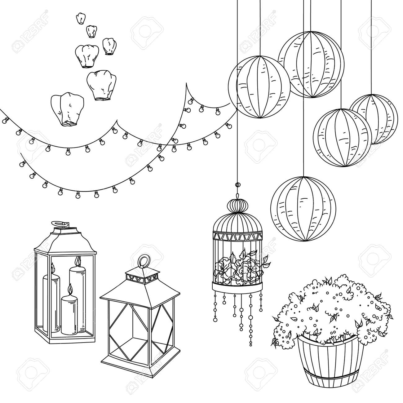 Set of wedding decorative elements and attributes in linear sketch set of wedding decorative elements and attributes in linear sketch stock vector 62436920 junglespirit Image collections
