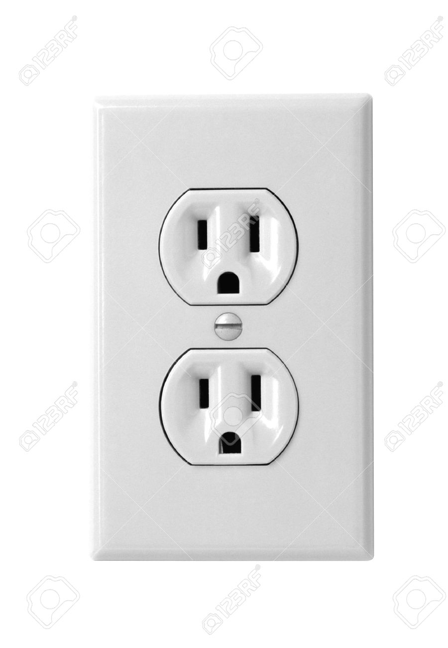 North American White Electric Wall Outlet Receptacle Stock Photo ...