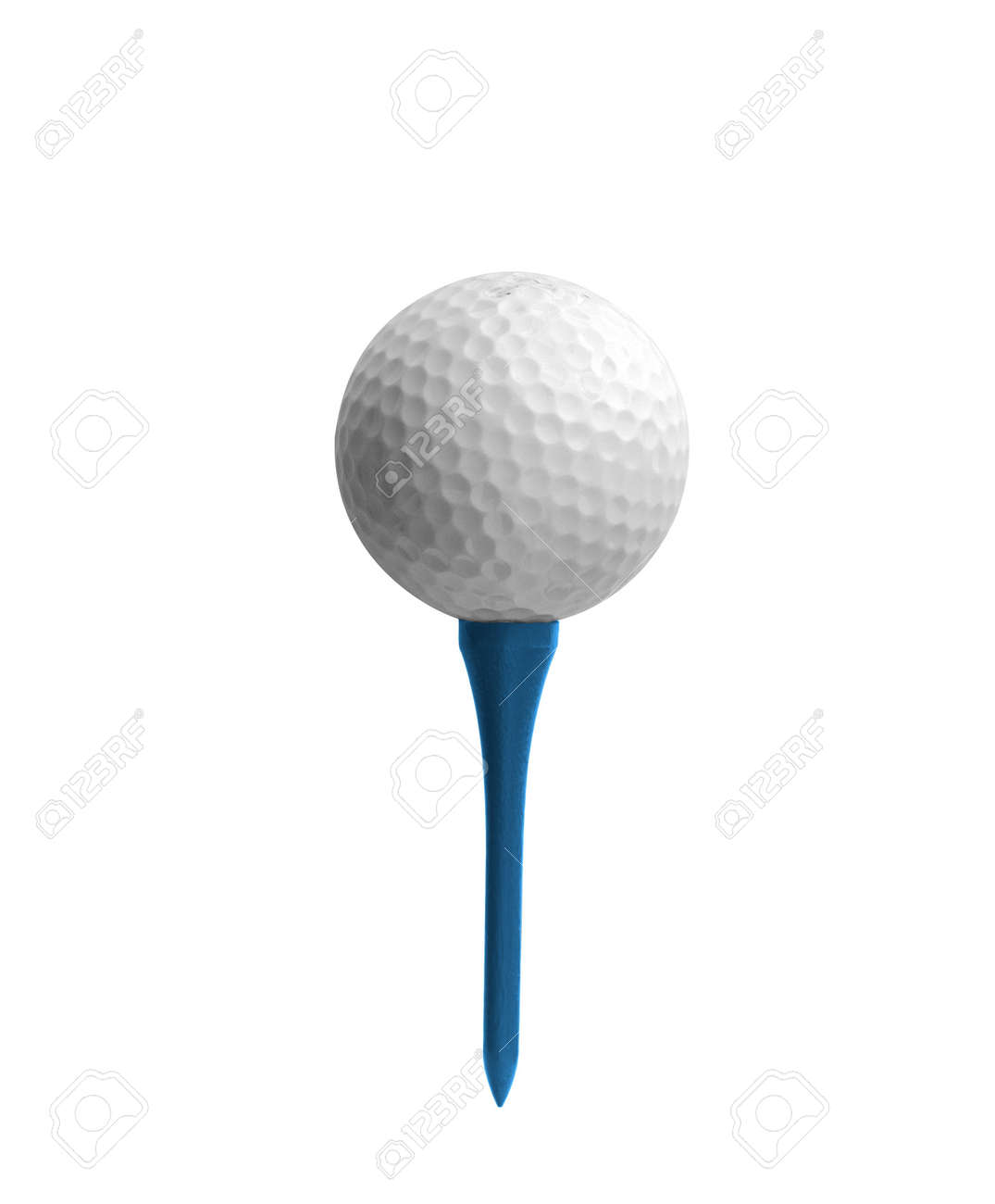 Golf ball on a tee isolated on white Stock Photo - 9327482