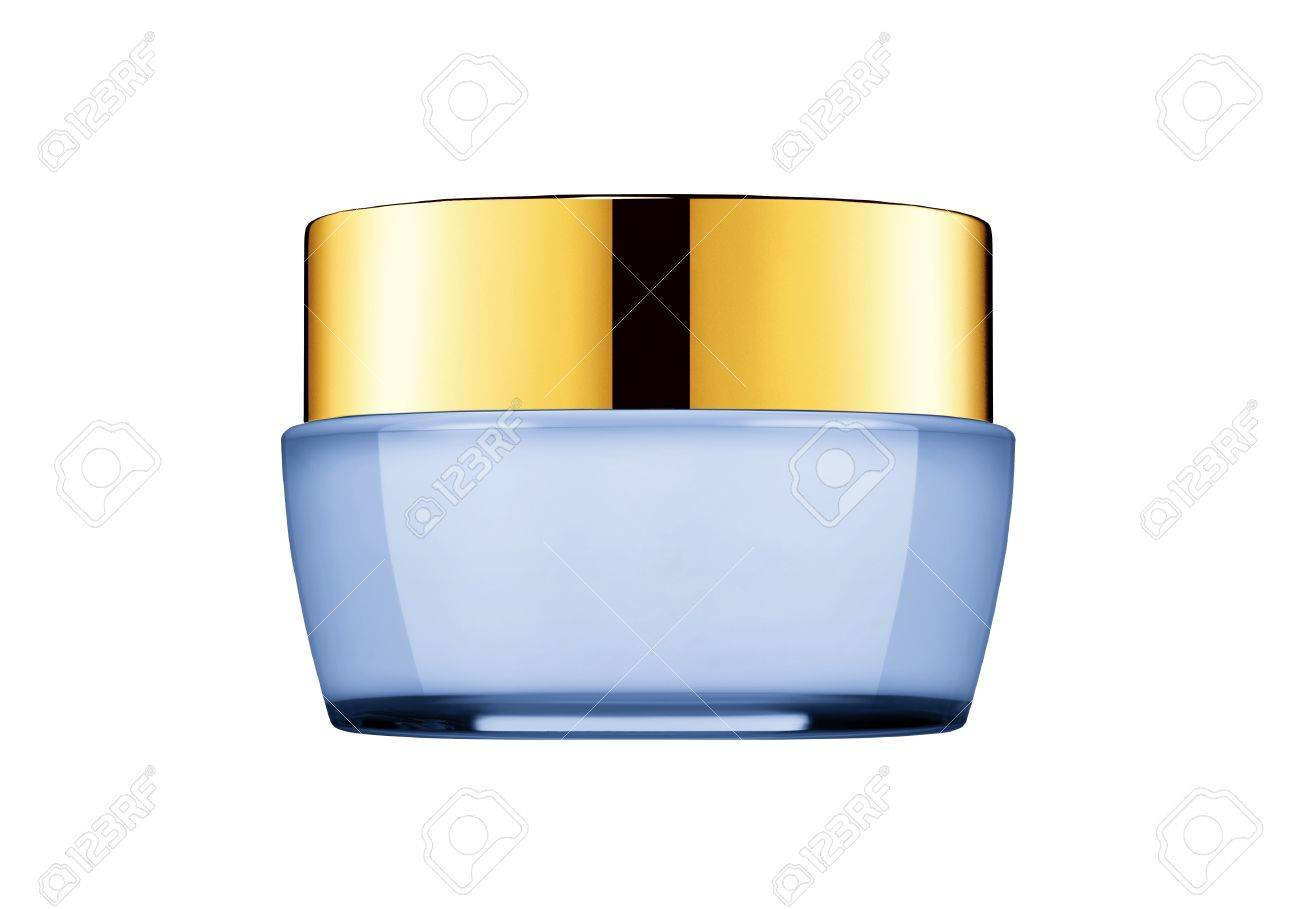 Tub With A Face Cream With A Blue Cover Stock Photo, Picture And ...