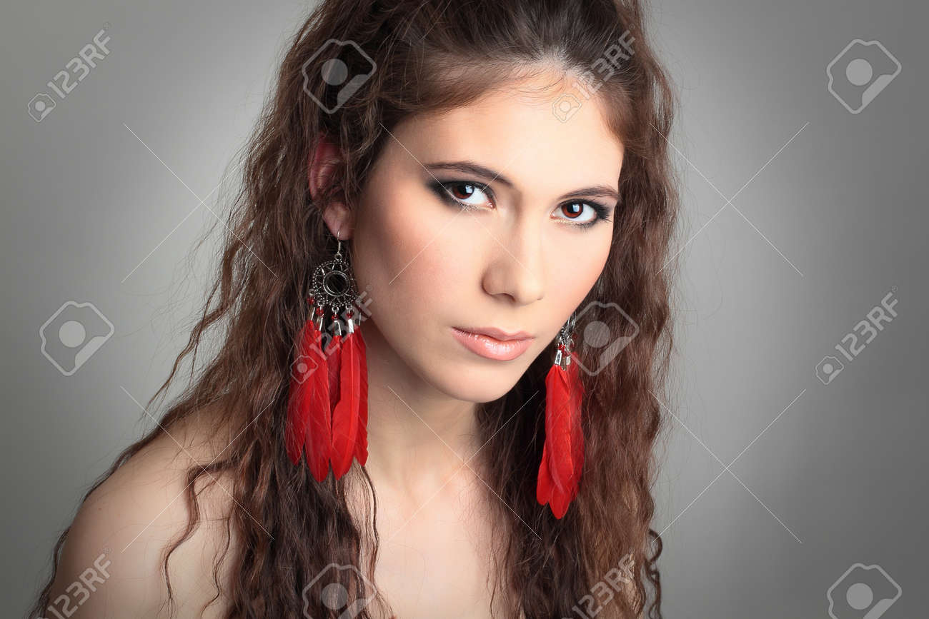 cute girl with beautiful red earrings stock photo, picture and