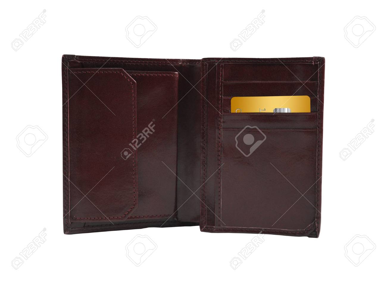 Open wallet with golden card Stock Photo - 13145937