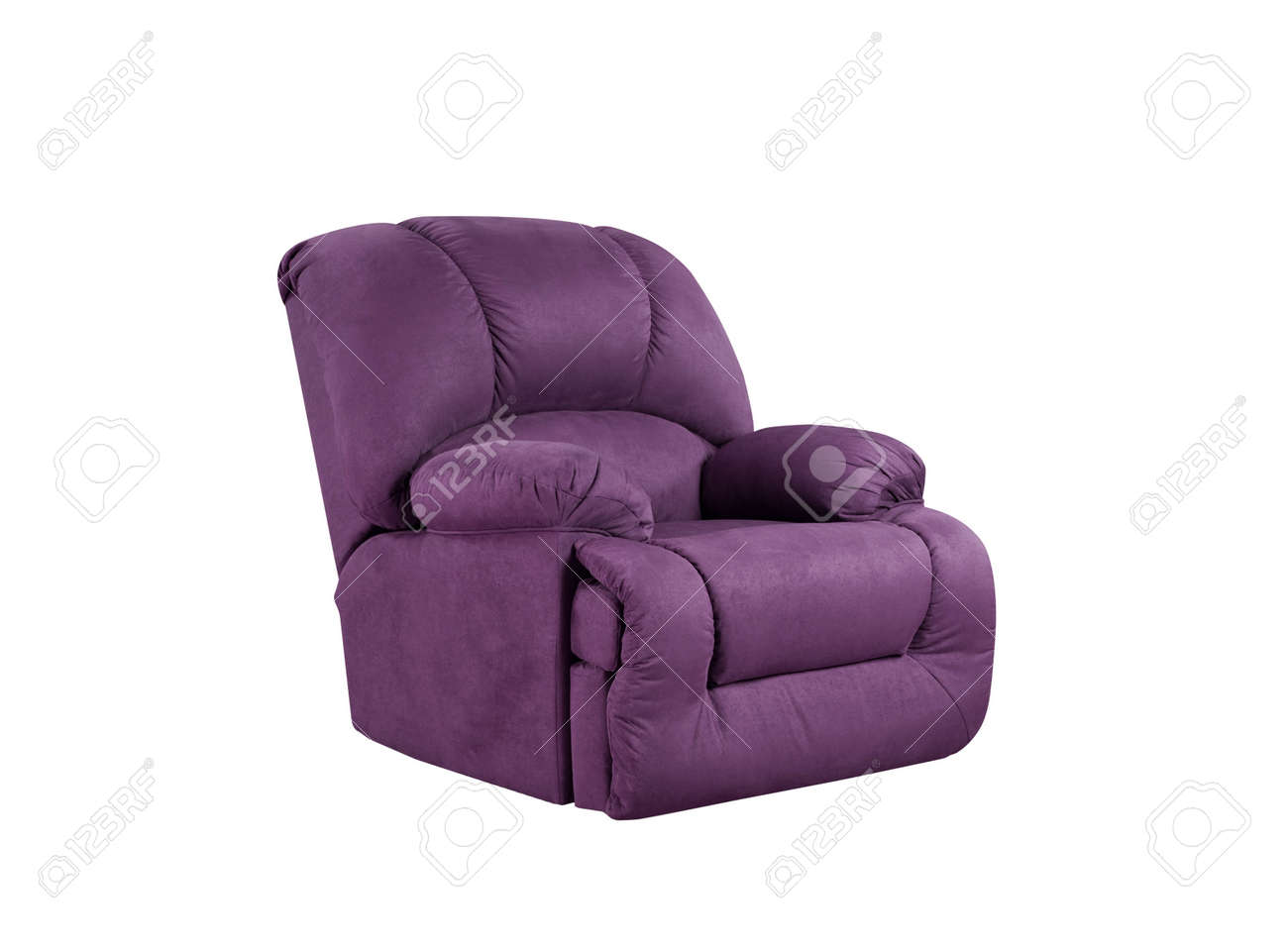 Amazing Bright Purple Leather Armchair Isolated On White Beatyapartments Chair Design Images Beatyapartmentscom