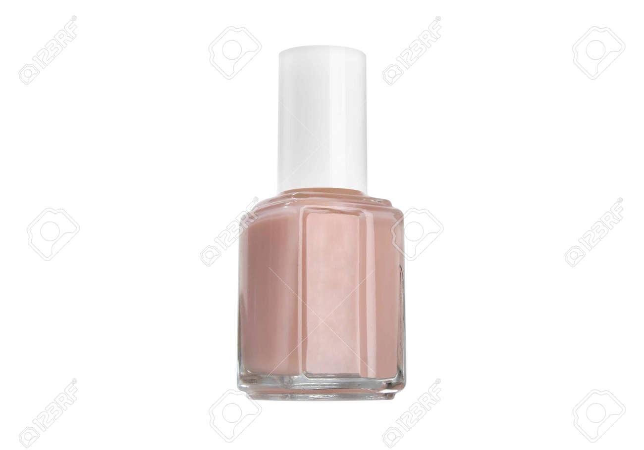 Botella De Esmalte De Uñas De Color Beige Fondo Blanco