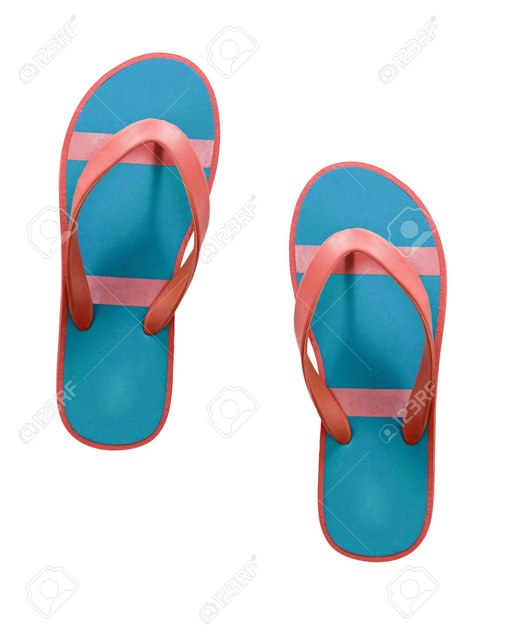 cdba2595590 red and blue flip flop sandals isolated Stock Photo - 47811589
