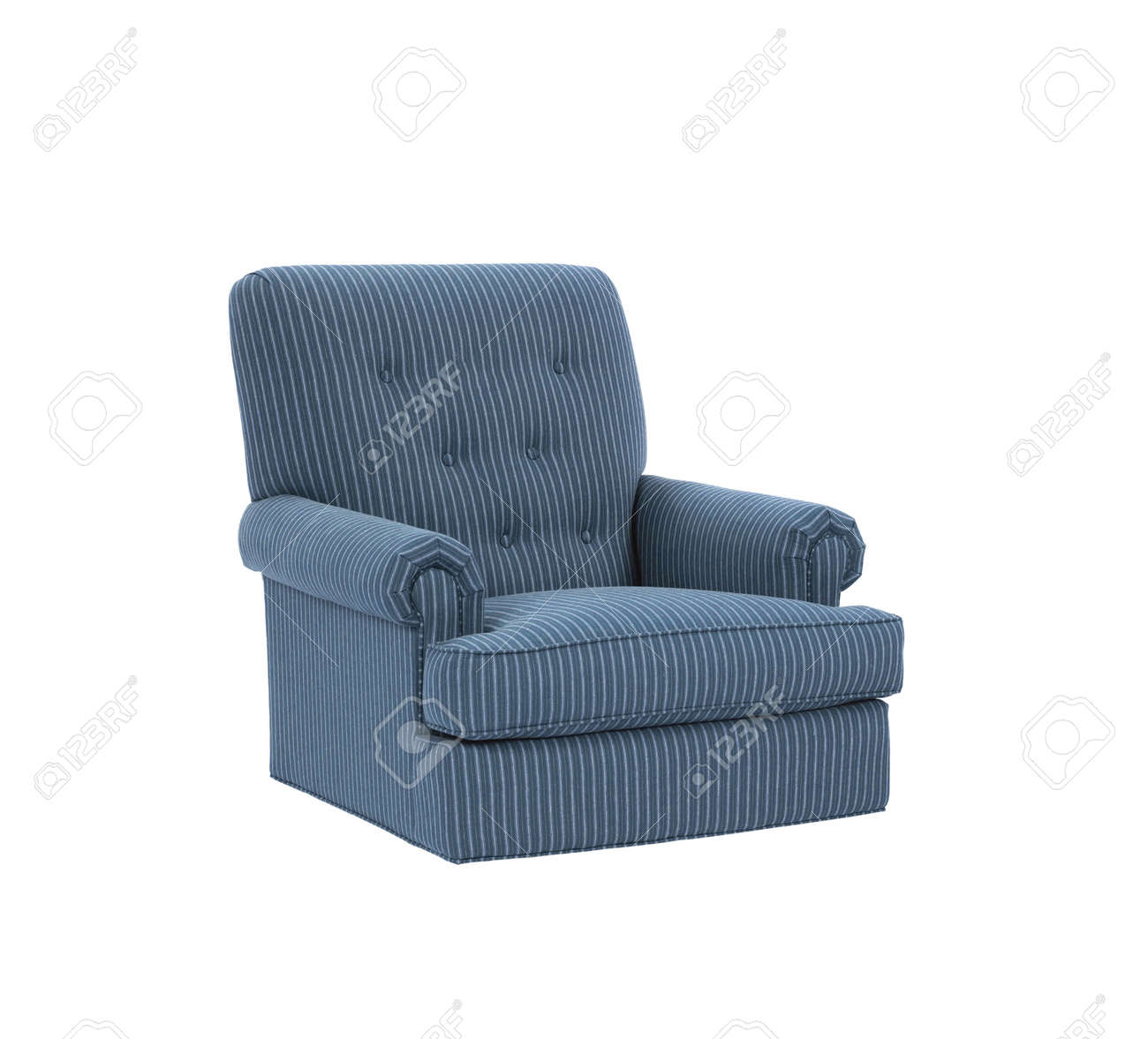 Dark Blue Soft Armchair Isolated On White Stock Photo Picture And