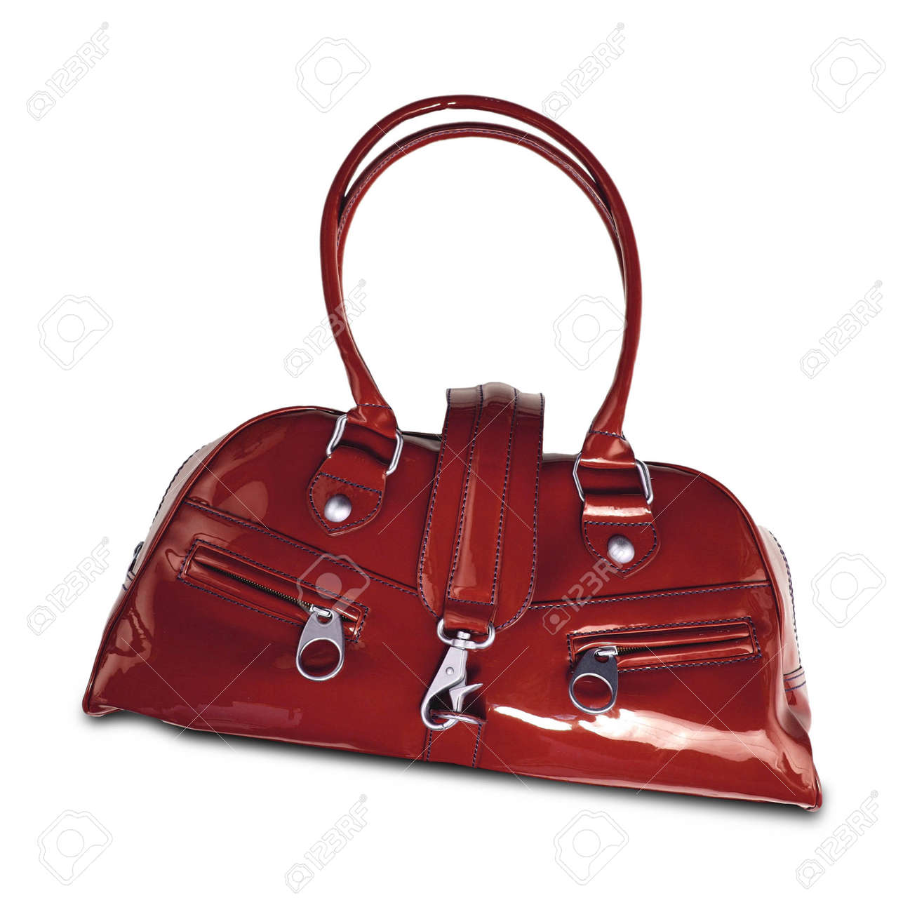 0d1092e7f76ad Red women bag isolated on white background Stock Photo - 60509492