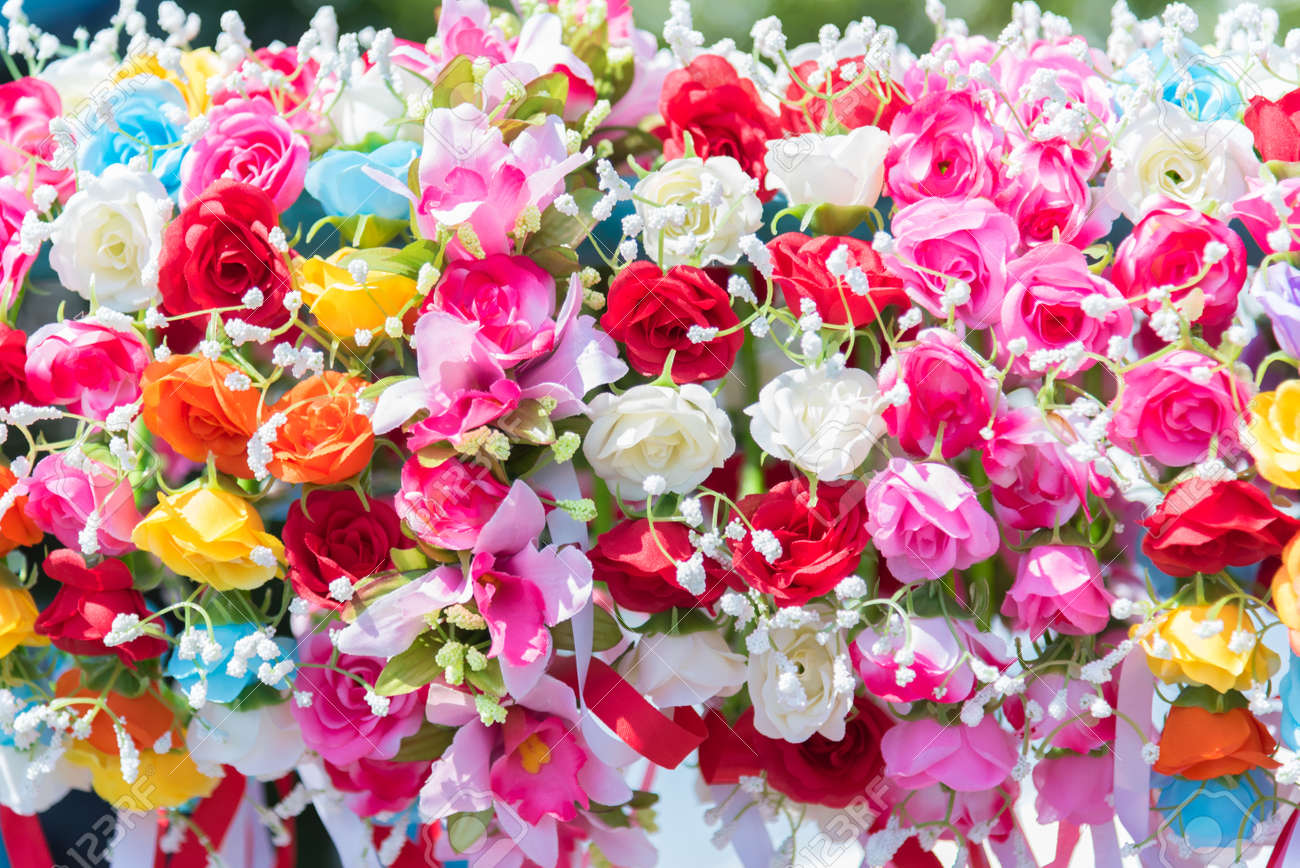 Beautiful Bunch Of Flowers Colorful Flowers For Wedding And Stock