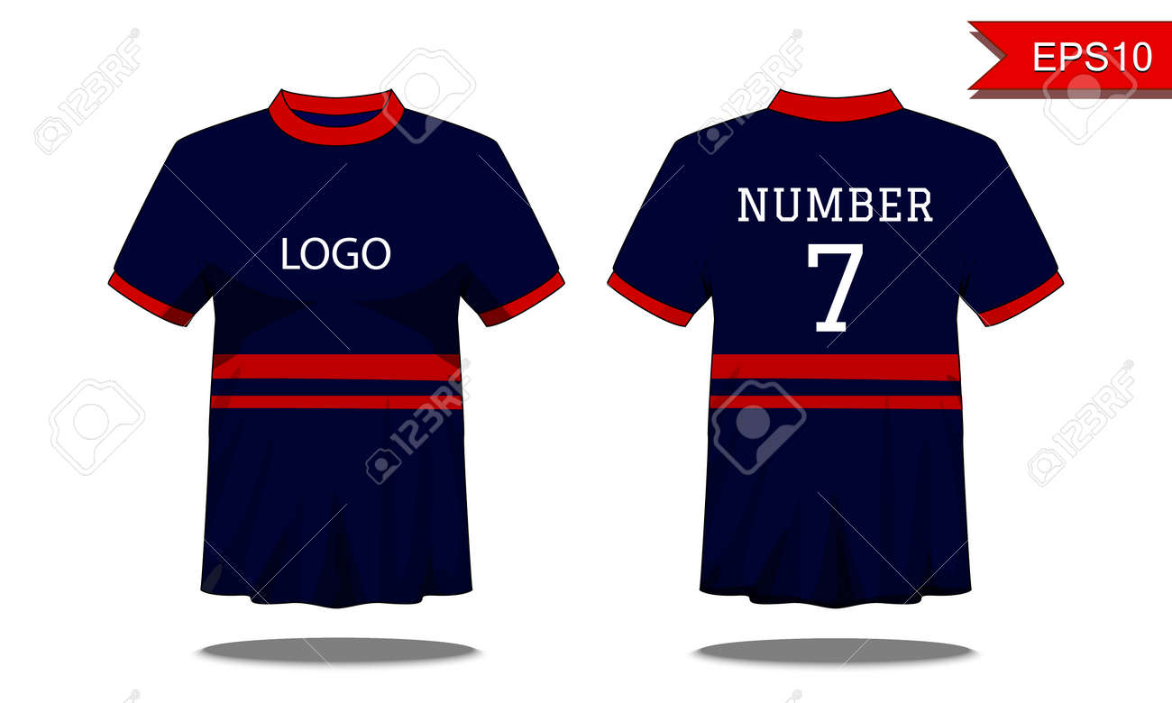 8878e12b0 Sport Men's t-shirt with short sleeve in front and back view. Dark blue