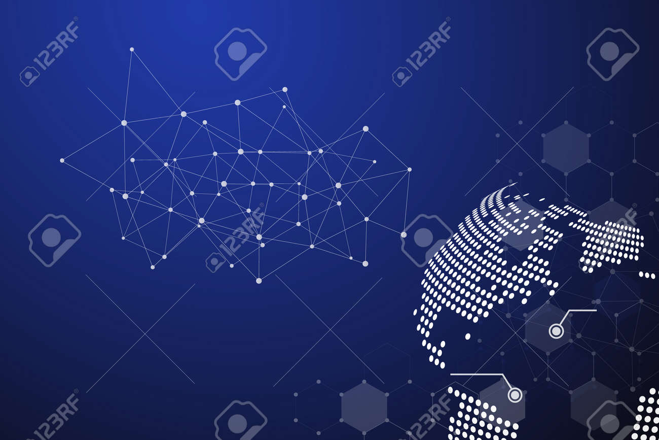 Blue Technology Abstract Background With White Line Dot Business And Connection Concept Internet Cyber