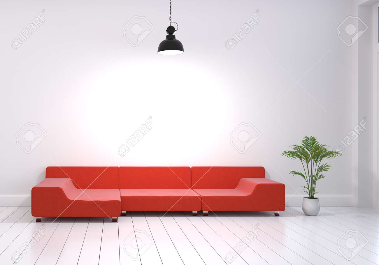 Modern Interior Design Of Living Room With Red Sofa And Plant ...