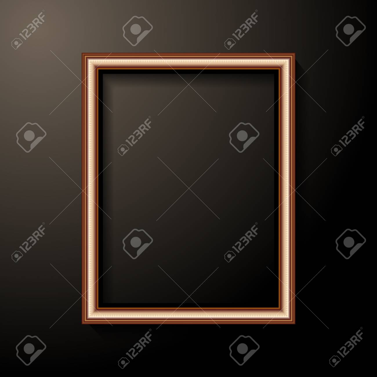 golden photo frame template home decoration and interior concept