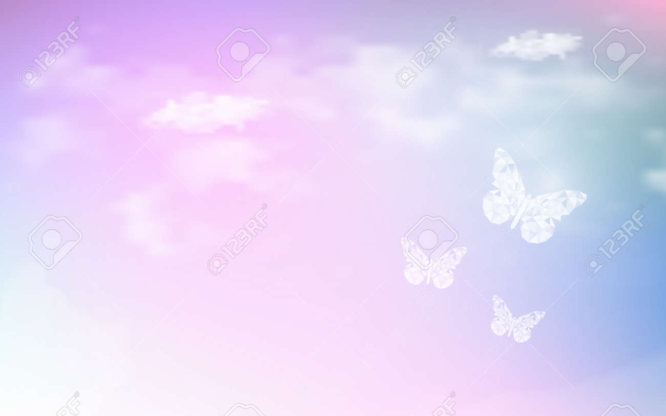 Fantasy dreaming sky with low poly butterflies in pastel color background. Hologram heaven rainbow and magic colorful cloudscape wallpaper. for invitation letter card graphic design of nature concept - 108368750