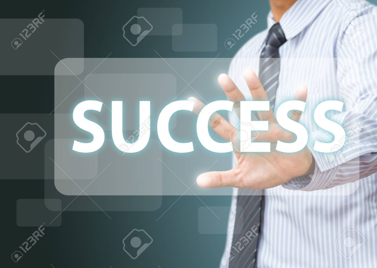 business man make success on touch screen Stock Photo - 15892038