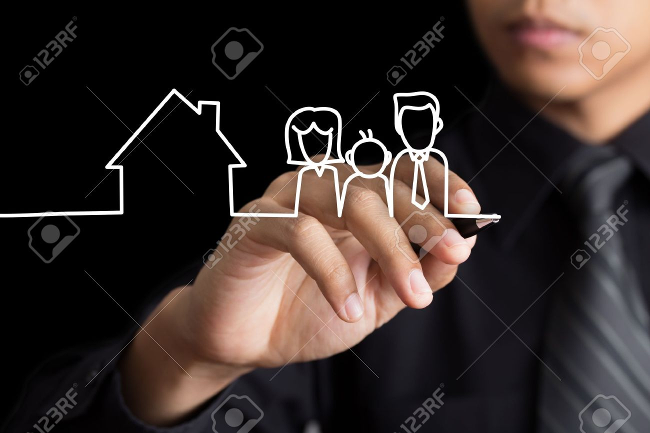 Businessman drawing family and a house Stock Photo - 19351130