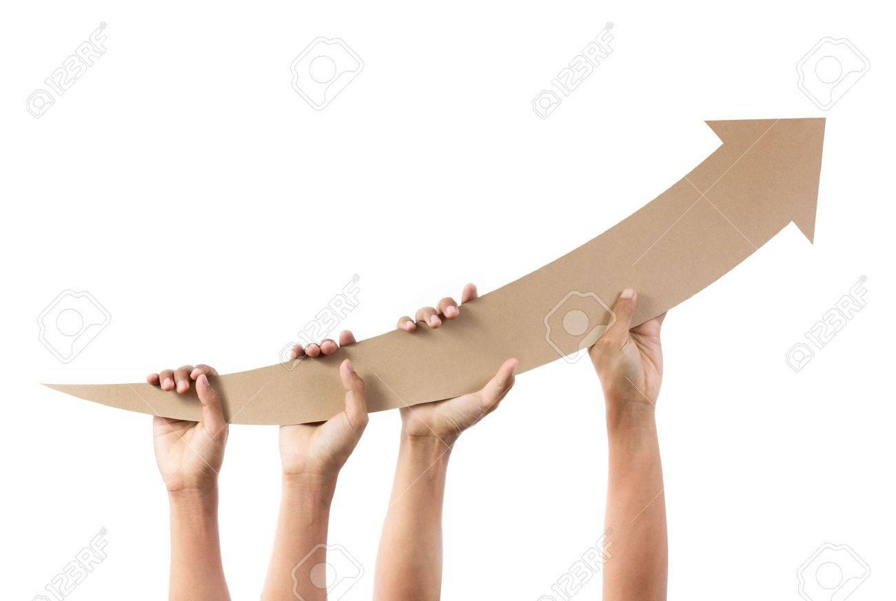 Hands holding arrow pointing upwards - 20325988