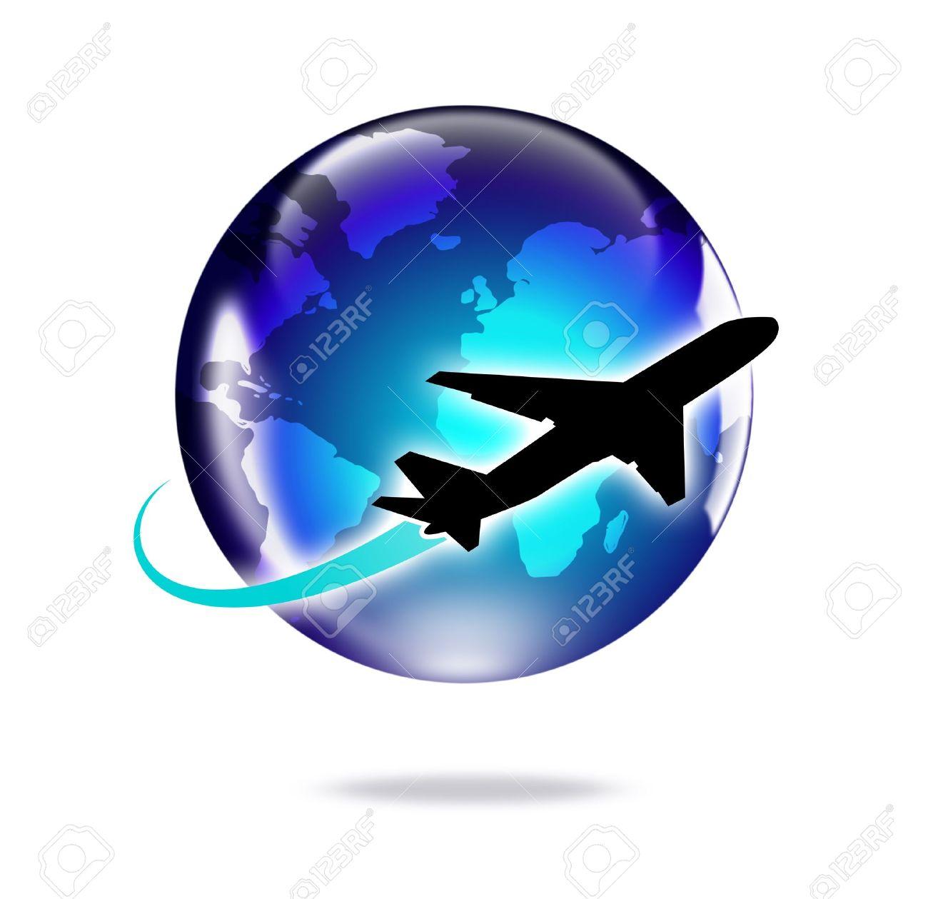 Airplane Travel Around The World Stock Photo