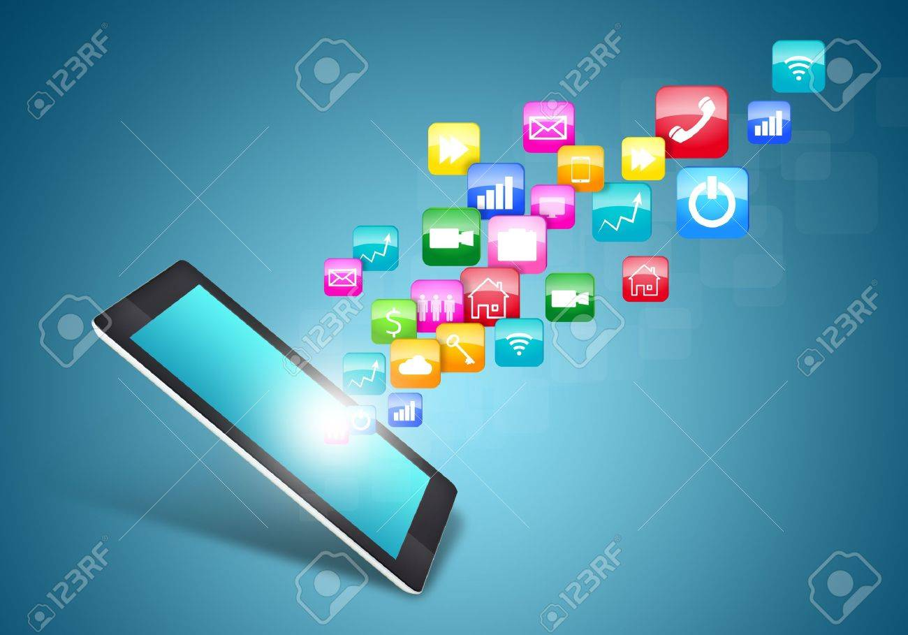 Touch screen tablet  with cloud of colorful application icons Stock Photo - 20993969