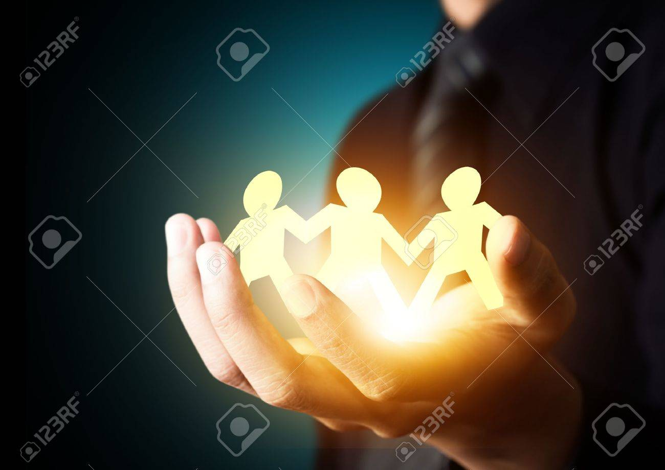 Paper family in hand, insurance concept Stock Photo - 21427529