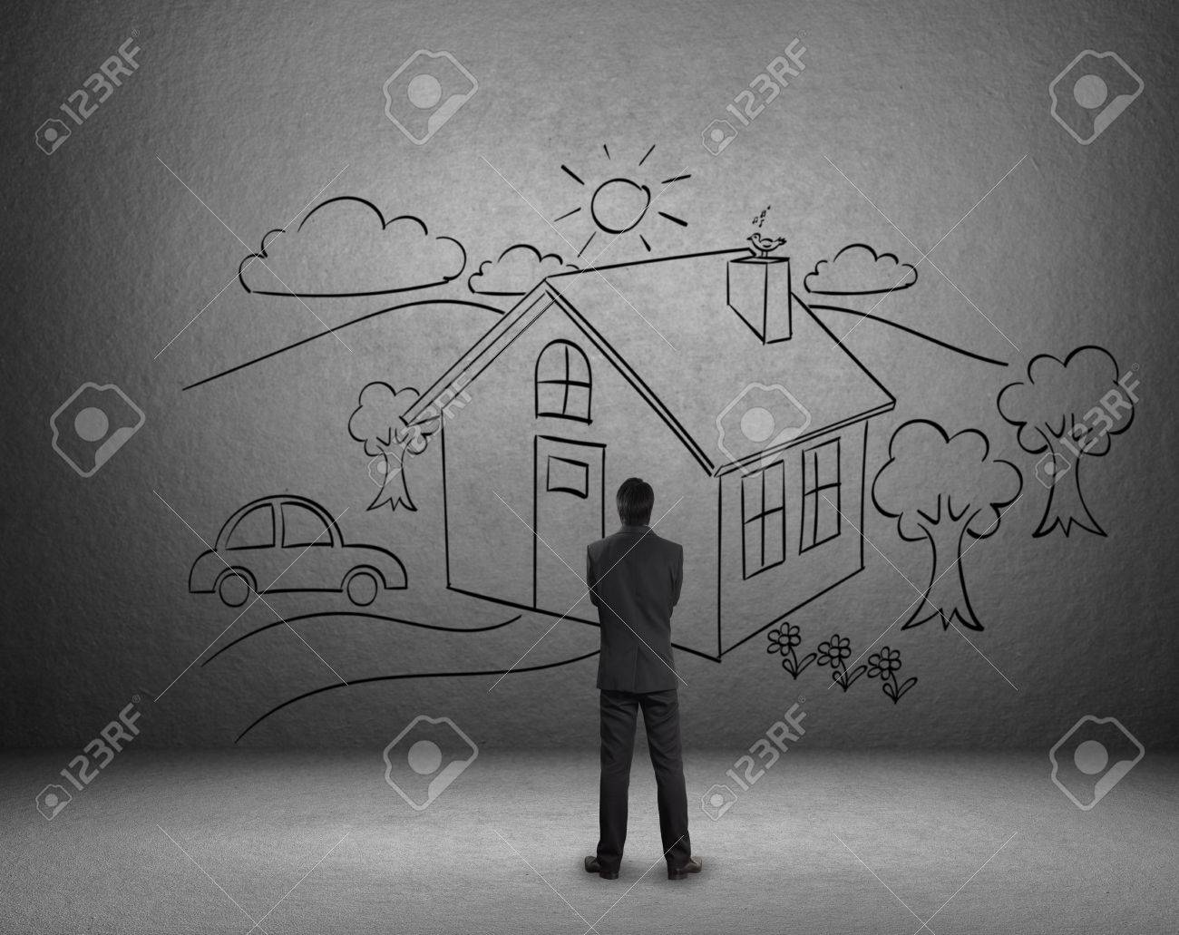 Businessman Draw A House On Wall Dream Home Stock Photo